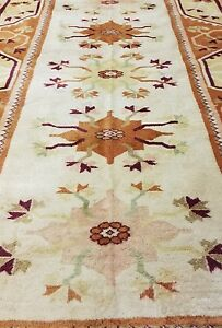 Beautiful Vintage 1960-1968s Muted Ivory Colors 7x10ft Wool Pile Ushak Rug