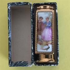 Vintage LIMOGES Brevete LCS Paris France Enameled Lipstick Tube Holder & Mirror