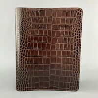 GUMP'S Alligator Embossed Brown Leather Book Case Cover