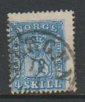Norway - 1863, 4sk Blue stamp - Used - SG 15
