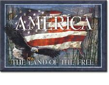 New America Land Of The Free Decorative Metal Refrigerator Magnet