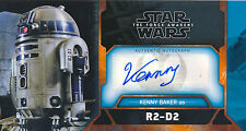Topps Star Wars The Force Awakens 3D Kenny Baker Auto Card WVA-KB Orange 9/10