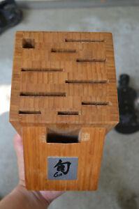 SHUN 11 Slot Bamboo Knife Shears & Honing Steel Storage Block Kitchen Organizing