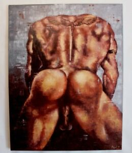 Original Oil painting on Canvas(handmade) nude man 43 x 35 inches. Abstract