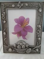 Unique Pewter Silver Metal Easter Basket Picture Frame For 5 × 7 Photo