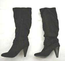 Diba Women's Black Suede Round Toe Knee High Foldover Platform Heels Boot 7.5M