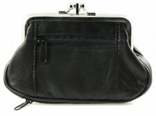 Black Genuine Leather Women Dual Pocket Change Large coin purse holder FREE SHIP