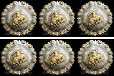 "Set of 6 WESTERN GOLD BRONC RIDER BERRY SADDLE CONCHOS 1-1/4"" screw back"
