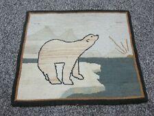 Antique Grenfell Rug Polar Bear Arctic Hand Made Newfoundland Canada Labrador