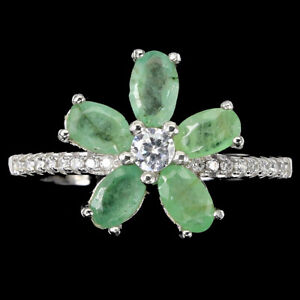 Unheated Oval Green Emerald Cz 14K White Gold Plate 925 Sterling Silver Ring 8