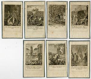 7 Antique Prints-HISTORY-FIRST CRUSADE-SARACEN-Chodowiecki-1801