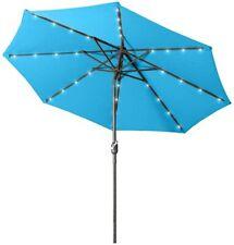 Aok Garden 9 Ft LED Lake Blue Patio Outdoor Umbrella Solar Power Tilt and Crank