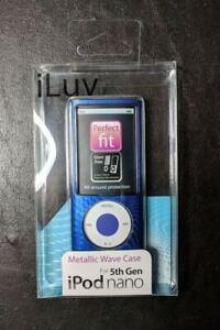iLuv iCC308 Blue Metallic Wave Hard Case for Apple iPod 5th Generation Nano