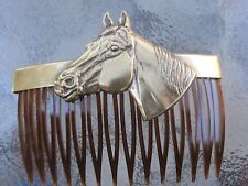 Vintage Hair Comb Horse's Head Anitqued Brass Faux Shell Comb  Made in USA