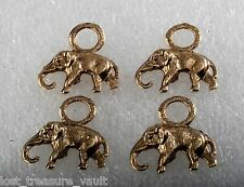 Vintage Elephant Charm Pendants  Lot of 4 Gold Tone Metal Jewelry Making