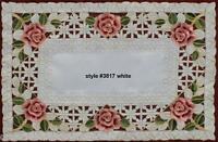 """Spring Embroidered Rose Daisy Floral Cutwork White Placemat 11x17"""" #3817W"""