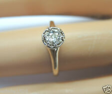 Antique Vintage Diamond Engagement Ring 14K Yellow Gold Ring Size 4.25 EGL USA
