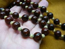 """(v323-11) 22"""" long red jasper with black marble + brass bead beaded Necklace"""