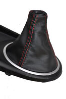 FITS HYUNDAI TIBURON COUPE 2002-2005 GEAR GAITER REAL LEATHER RED STITCHING