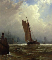 Oil painting New York Harbor with the Brooklyn Bridge with sail boats in sunset