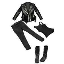 1/6 weibliche PU Lederjacke Weste Hose Outfit Set + Stiefel Schuhe für 12