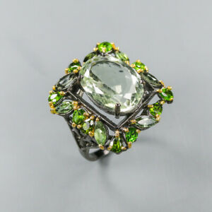 Green Amethyst Ring 925 Sterling Silver Size 7.5 /RT20-0131
