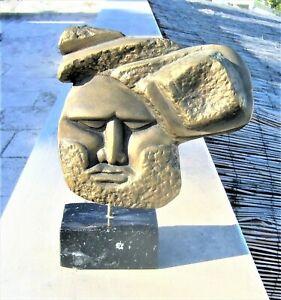 SUPERB SCULPTURE BY CHRISTOS PAPAS GREEK ARTIST MAN WITH BEARD SOLID BRASS 22/30