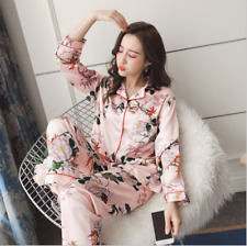 100% Silk Womens Floral Lapel Long Sleeves Pajama Sets Tops Pants Sleepwear HOT