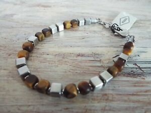 NEW Fossil Square Tiger's Eye Stainless Steel Beaded Bracelet +cloth bag RRP£49