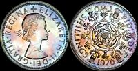 1970 GREAT BRITAIN 2 SHILLINGS PROOF COLOR TONED HIGH GRADE COIN