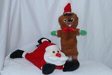 Lot of 2 Pet Toys Christmas Red White Brown Santa Claus Beaver FREE SHIPPING