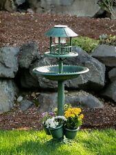 New Verdigris Birdbath/Plant Stand/Solar Light Combo Centerpiece By Accent Plus