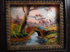 Tableau paysage boisé cours d'eau pont émaux Limoges émailleur Pierre Bonnet