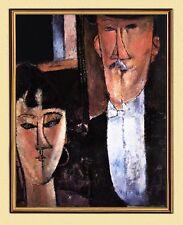 Amedeo Modigliani BRAUTLEUTE BRAUT BRÄUTIGAM FAKSIMILE AUF LEINWAND IM RAHMEN 18