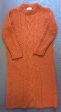 handmade cable knit sweater dress s/m Rust orange color