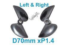 1 Set D70mm Left & Right P1.4 RC Boat Propellers, 5mm Shaft (US SELLER & SHIP)