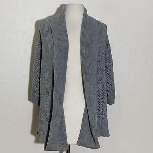 XOXO Womens Sweater L Gray Cardigan Knit Three Quarter Sleeve Stylish