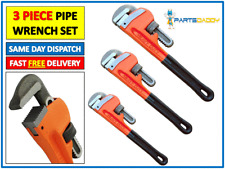 "3pc HEAVY DUTY STILSON MONKEY PIPE WRENCH SET Adjustable Plumbers UK 10"" 14"" 18"""