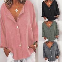 Women's Buttons Deep V Neck Casual Batwing Sleeve Shirt Tops Plain Blouse Plus