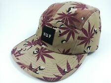 HUF Camo Weed Leaf 5 Panel Strap Back Cap Hat ~ Made In USA ~ Snow Surf Skate