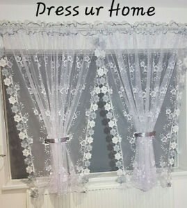 Amazing ready made jacquard net curtain with guipure lace white grey firany