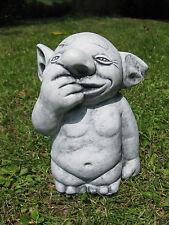 """Massive Steinfigur Troll """"Nasenbohrer"""" Gnom Wichtel Kobold Steinguss frostfest"""