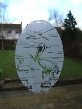 "Frosted Glass Look PELICAN SCENE Decoration 10.5""x16"""