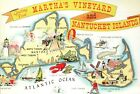 Greetings from Martha's Vineyard & Nantucket Island Massachusetts - Map Postcard