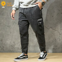 Men`s Black Loose Denim Pants Harem Taper Fit Baggy Cargo Jogger Jeans Plus Size