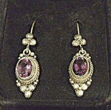 Unique Sterling Silver Dangle Baroque Earrings With Amethyst Purple Stones NIB