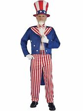 Mens Uncle Sam Fancy Dress 4th July USA Stars Stripes American Costume Outfit