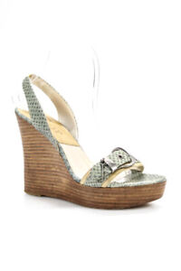 Dior Womens Embossed Leather Slingback Wedge Multicolor Size EUR 36.5 US 6.5
