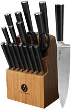Ginsu Knife Set Farmhouse Forged Full Tang Stainless Steel Blade Black 19-Piece