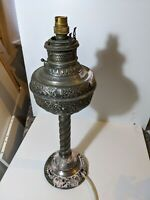 VINTAGE New Rochester OIL LAMP electrified. Clips dents polish